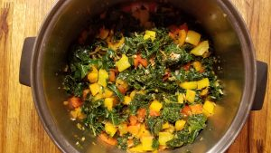 cooked kale peppers in stockpot
